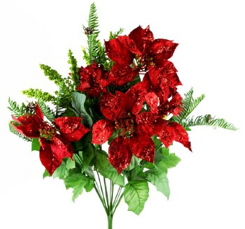 Artificial Poinsettia Mixed Bunch