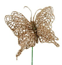 Glitter Butterfly Pick Rose Gold 4""