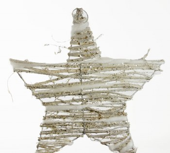 White wicker Christmas star 35cm