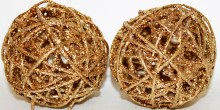 Gold glitter Christmas wicker spheres 4""