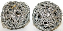 Silver glitter Christmas wicker spheres 4""