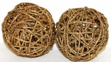 Gold glitter Christmas wicker spheres 5""
