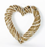 Wicker Heart Hessian and Sisal 12""