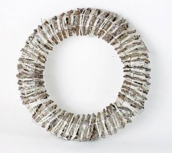 Silver & White Glitter Chrsitmas Wicker Wreath