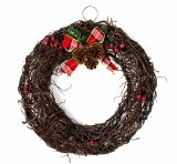 Christmas Door Wreath Rattan With Bow 30cm