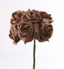 Large brown colourfast foam roses x 6-8cm