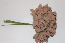 Brown colourfast foam roses x 8-7cm