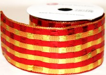 Red and gold wired edge Christmas ribbon