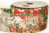 "Christmas organza ribbon with wired edge 2.5"" x 10yards"