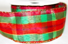 "Christmas tartan ribbon with wired edge 2.5"" x 10yards"