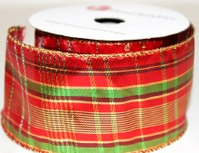 "Christmas wired edge tartan ribbon 2.5"" x 10yards"