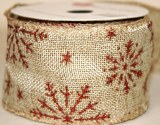 "Hessian wired edge ribbon with red snowflake 2.5"" x 10yards"
