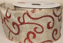 "Natural hessian wired edge ribbon with red swirl 2.5""x10yards"