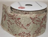 "Hessian wired edge ribbon with red holly 2.5"" x 10yards"