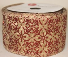 """Hessian wired edge ribbon with red glitter pattern 2.5"""" x 10yards"""