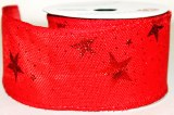 "Red hessian wired edge ribbon with red star 2.5"" x 10yards"