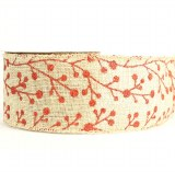 "Wired edge hessian ribbon with red berry 2.5"" x 10yards"
