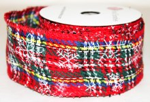 "Red tartan ribbon with snowflake 2.5"" x 10yards"