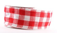 "Red check wired edge hessian ribbon 2.5"" x 10yards"