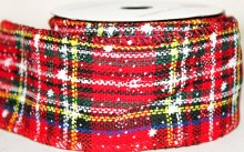 "Christmas tartan snowflake ribbon with wired edge 2.5"" x 10yards"