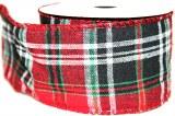 """Christmas tartan ribbon 2.5"""" x 10yards"""