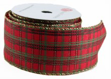"Christmas Tartan Ribbon 2.5"" x 10Yards Wired Edge"