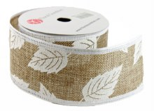 "Ribbon Natural Wired Edge 2.5"" x 10  Yards"