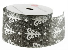 "Christmas Ribbon Wired Edge Grey/ White 2.5"" x 10 Yards"