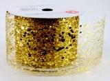 "Gold Glitter Mesh Ribbon 2.5"" x 10 Yards"