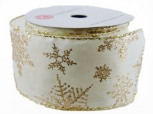 "Christmas Ribbon Wired Edge Ivory 2.5"" x 10 Yards"