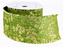 "Christmas Ribbon Gold Glitter Leaf 2.5"" x 10Yards"