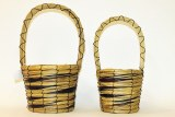 Round lined wicker basket set of 2