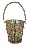 Grey wicker basket lantern with glass, Height-21cm