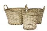 White wicker basket set of 3,26cm,24cm,22cm