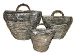 Hanging wall basket set x 3, 28cm,21cm, 18cm