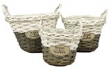 Home and flower wicker basket set x 3