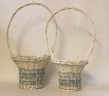 White/blue wicker basket set x 2