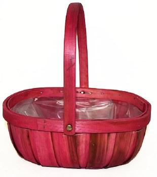Pink wood trug florist basket