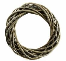 Rattan Wicker Wreath Grey 25cm