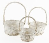 Florist Wicker Basket Set x 3 White