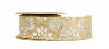 Hessian Ribbon Roll With Metallic Silver Flower 5cm x 5yards