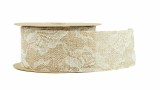 Hessian & Lace Natural Ribbon 5cm x 10yards