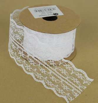 Lace Ribbon White 4.5cm x 5 Yards Approx