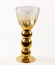 Clear & Gold Flute Glass Vase 40cm