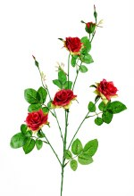 Single stem rose spray x 4 red 80cm