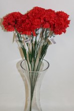 Silk Red carnations x 12-46cm