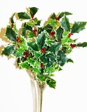 Varigated artificial holly bunch x 8 stems 42cm
