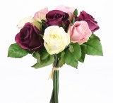 Rose Bunch x 9 Stems Burgundy, Cream & Mauve