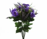Mixed Purple Wild Flower & Lisianthus Artificial Flower Bunch