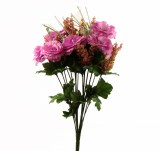 Mixed Pink Lisianthus & Wild Flower Artificial Bundle x 18 Stems